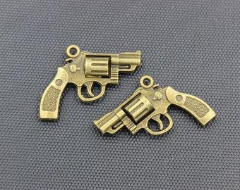 10pcs Revolver Charms Antique Bronze Tone 30x24mm - BH163