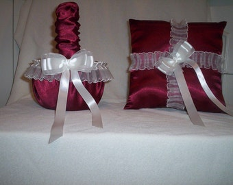 Candy Apple Red Satin With White Sheer Lace Trim Flower Girl Basket And Ring Bearer Pillow