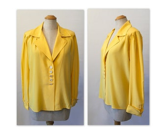 Vintage 80s YSL Yellow Silk Blouse S M Rive Gauche Yves Saint Laurent