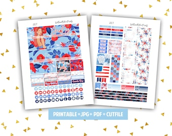 JULY Monthly - Printable Planner Stickers - Erin Condren Vertical Planner - PDF*JPG*Cut File