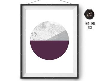 Marble Print, Purple Poster, Circle Art, Geometric Print, Scandinavian Wall Art, Minimal Print, Modern Print, 50x70 Printable, Print Avenue