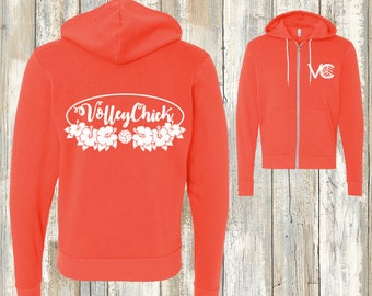 Volleyball Avalon Zip Hoodie - VolleyChick Symbol/SpikeChick