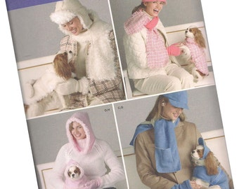 SIMPLICITY PATTERN 4316 ladies hats, mittons, dog and puppy matching coats, all sizes, new and uncut