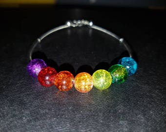 Rainbow beaded silver plated bracelet  rainbows pride trolls unicorn June summer one love