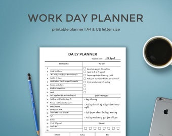 Daily Planner for Work | Work Day Planner Printable  | Day Planner in A4 and US Letter Size | Daily Organizer for Work | Workday Planner |