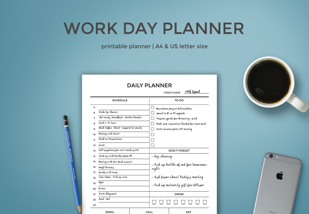 Daily Planner For Work Work Day Planner Printable Day