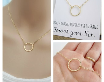 Gold necklace with message card, gift for Mom jewelry, gold eternity necklace, Mother in law gift, Mother of the Groom gift, circle necklace