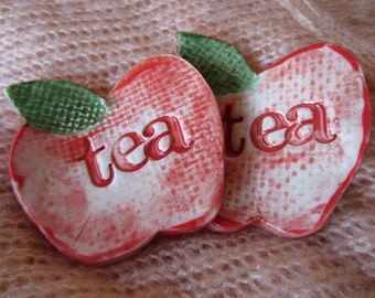 2 Red Apple Tea Bag Holders Ceramic