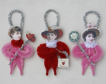 Chenille Valentine Ornaments - Valentine Decorations - Victorian Inspired