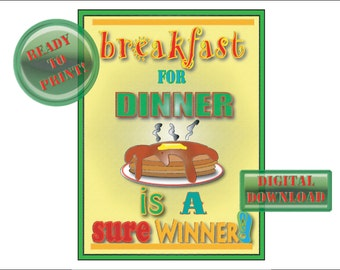 Pancakes Sign Printable Breakfast for Dinner Retro 50s Diner Style Kitchen Dining Room Wall Art Green Red Butter Yellow Dripping Syrup