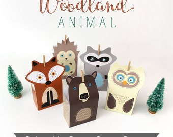 Printable Woodland Favors, Forest Party Favour Boxes, Fox Owl Raccoon Bear Hedgehog Printable Boxes, Lumberjack Theme
