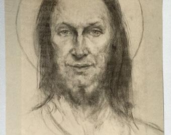 Charcoal drawing bearded man portrait, Borough Johnson, Jesus Christ portrait, Drawing of Saint, Long haired man, Piercing eyes