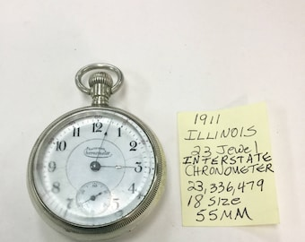 1911 Illinois Interstate Chronometer 23 Jewel 18S 55mm Running
