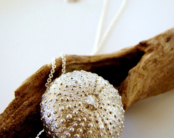 Sea Urchin Pendant Sterling Silver Jewelry Necklace Statement Jewelry