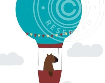 Bear in hot air balloon // Cute greeting card bear