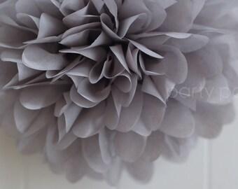 Dark grey tissue paper pom .. weddings / birthdays / anniversary decorations