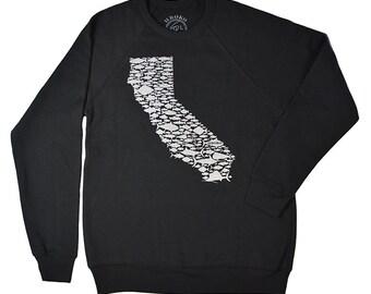 CALIFORNIA FISH LOVE - Black -  Crew Neck Sweatshirt - Salmon - Bill Fish - Sea Bass - Trout - Rock Fish - Tuna - Golden State - by uroko
