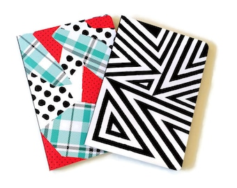 Set of 2 // Lined Journals // Soft Cover Notebooks // Lined Notebooks // Geometric Journals // Notebook Set // Red, Blue and Black Journals