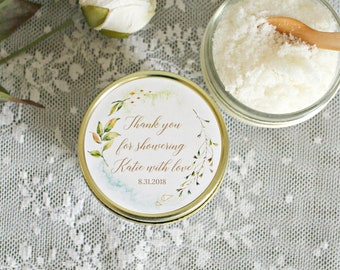 From My Shower To Yours / Gold and Greenery Shower / Set of 12 - 4 oz Sugar Scrub  Favors / Sugar Scrub Favors / Modern Bridal Shower Favors