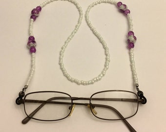 White, Purple, and Black Beaded Eye Glass Lanyard Necklace
