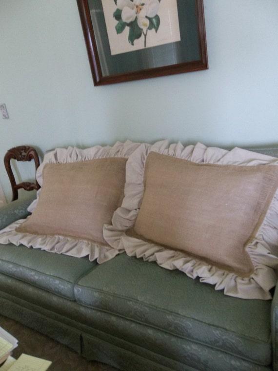 Pair Burlap Pillow Shams Ruffled Burlap Pillows Covers