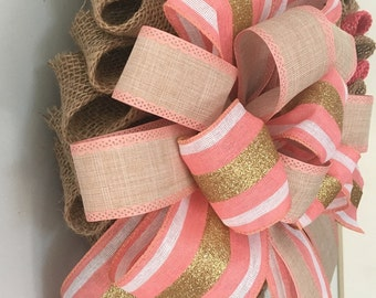 Burlap Petal Wreath Tan and Cantaloupe Burlap Gold White and Lt Cantaloupe Ribbon Handmade Bow Straw Wreath Form by Treasures by Tricia