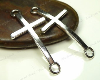 6 Curved Cross Connectors Antique Silver Tone Metal - 55x24mm - Links, Jewelry Supplies - BM2