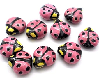 16x16mm Double-sided Porcelain Pink/Black/Yellow Ladybug Beads - Package of 10