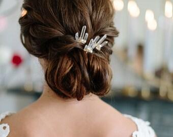 HONEYSUCKLE raw quartz delicate boho wedding hair pins, rose quartz bridal headpiece