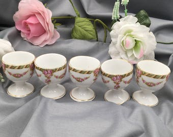 5 egg cups old romantic decor Limoges porcelain, garlands of roses, edged gilt, antique vintage