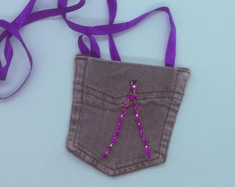 Girls Denim Bag, Jeans pocket bag, Little girls purse, Mini handbag, Pink sparkly bag, Crossbody purse, Wearable purse, Girls neck purse