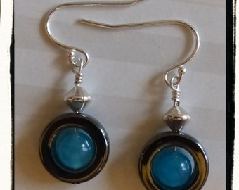 Fun and Funky Hematite, Blue Jade and Sterling Silver Earrings -- 80's Flair? -- Gift Idea -- Treat Yourself