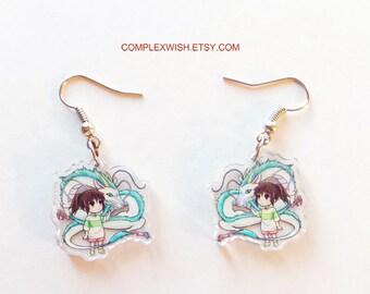 Spirited Away earrings - Haku and Chihiro