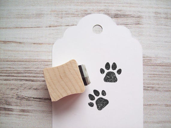 Paw Print Stamp, Dog Pet Animal Tracks Rubber Stamp