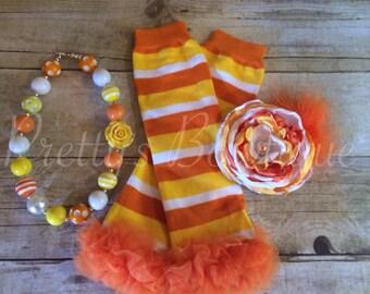 Corn Corn Set~ Flower Clip ~ Leg Warmers~ Chunky Bead Necklace