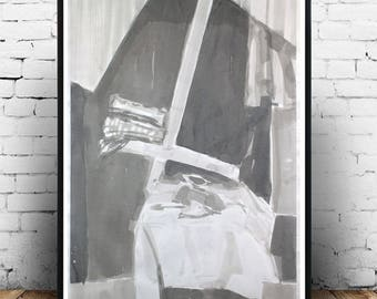 """Pamela Rys - Still Life with Book 39"""" x 28"""" - 100 x 70 cm - original charcoal drawing on paper - abstraction by Pamela Rys"""
