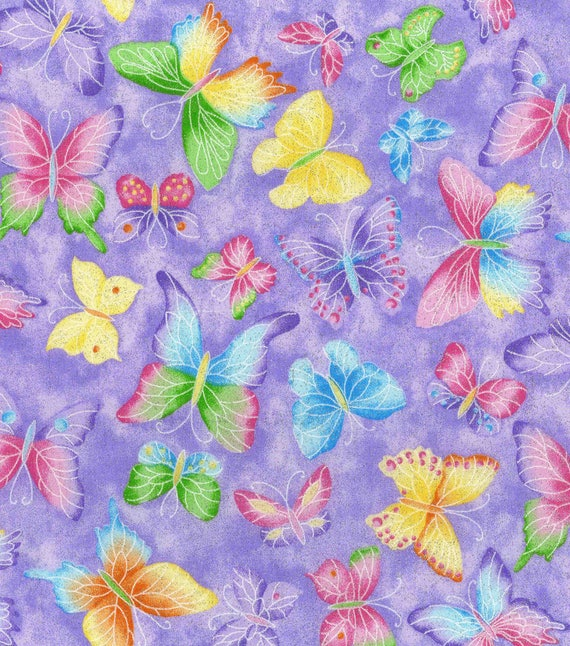 Glitter Butterfly Fabric Purple Butterfly Fabric Pink