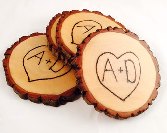 Heart & Initial Etched Natural Wood Coasters (Water Resistant 4 or 6 Pack)