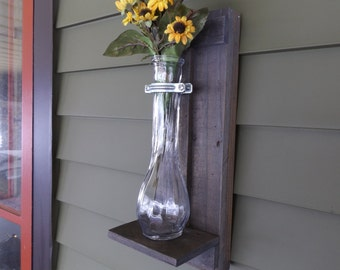 Rustic Wall Sconce. Grey Wall Sconce. Wood Wall Sconce. Vase Wall Sconce. Flower Vase Sconce. Shabby Chic Sconce. Reclaimed Wood Sconce.