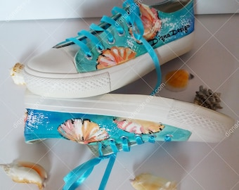Summer Sneakers, Hanpainted Sneakers, Sea shells Shoes, Seashell Sneakers, Hanpainted Shoes, Summer Seashells Art, Sea Sneakers Art