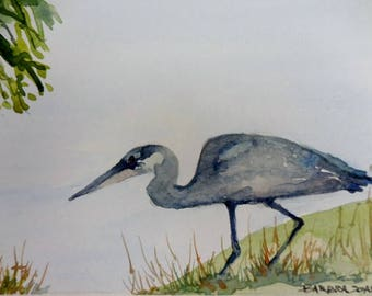 Original watercolor Great Blue Heron, Florida birds, watercolor birds