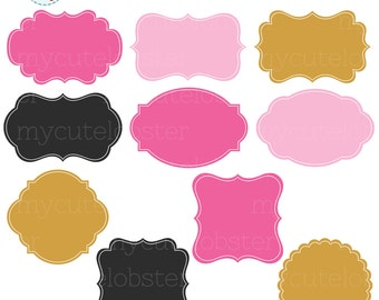 Frames Clipart Set - clip art set of pink & gold frames, tags, labels, digital frames - personal use, small commercial use, instant download