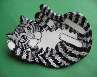CAT SPOON REST - or soap dish , trinket holder or tea bag holder
