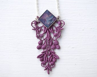 Resin and Purple Lace Statement Necklace