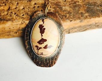 RÉDUIT d'Owyhee montagne jaspe pendentif collier, jaspe dendritique, collier d'inspiration Vintage, Cabochon en jaspe Owyhee montagne, ferronnerie