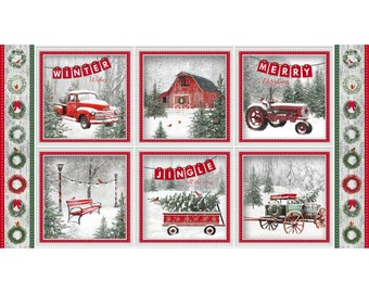 Retro Christmas Quilt Fabric Panel, Henry Glass Holiday Wishes 6924 86 Jan Shade Beach, Retro Trucks, Tractor, Red Barn, Red Wagon, Cotton