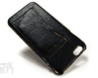 """COPPER LAMINATE iPhone 6 Leather Case Washed Leather Aged with credit card holder for 4.7"""" & Plus 5.5"""" col BLACK"""