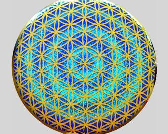 BUT-GFOL  6 inch Framed Global Flower of Life Button