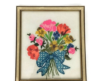 Vintage Framed Colorful Floral Bouquet Crewelwork // Nursery Art // Gift for a Baby // Retro Art
