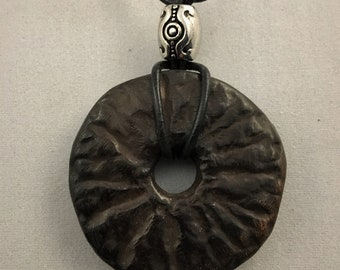 Handmade ceramic pendant/jewellery/unique/jewelry/boho/pottery/leather and wood